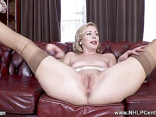 Hot Perky blonde stripped pantyless wanks legs open nylons
