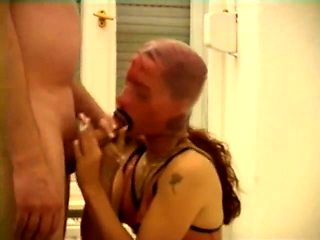 Submissive amateur babe in latex gets fed a throbbing pole