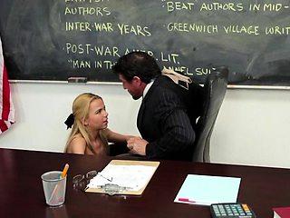 Hot blonde schoolgirl is yearning for her teacher's big cock