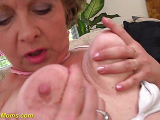 Horny grandmas first porn video filmed