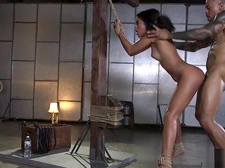 Small tits ebony sub brutal anal banged