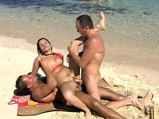Threesome beach sex anal