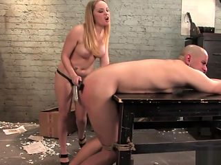 Kinky Blonde Pegging a Dude