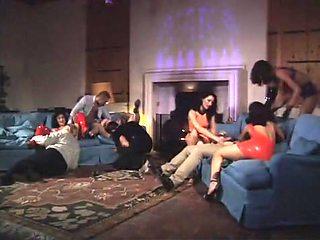 Incredible pornstars Daniella Rush, Lea de Mae and Catherine Count in crazy group sex, redhead adult video