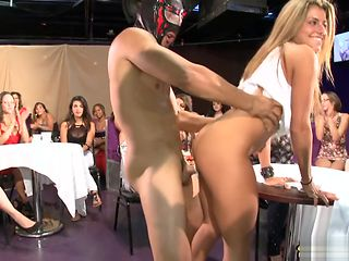 Dirty blonde fucked in front of a crowd