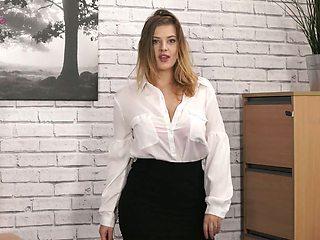 Naughty secretary Lottii Rose exposes her suckable big boobies