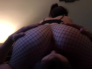 Riding hubbys face and cock in fishnets
