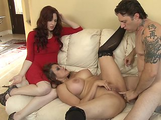 Two ladies that love anal sex are getting fucked in a threesome