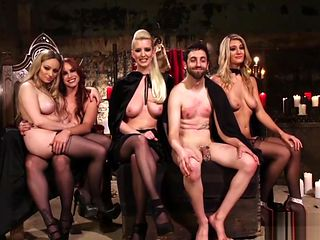 Aiden Jay and Four Other Voluptuous Dominas