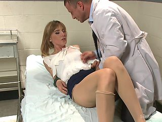 Milf with small tits, hard sex with the horny doc with a big dick