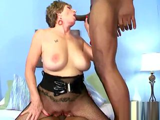 Old bimbo fucked by two black studs