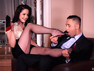 Foot fetish fucking with desirable brunette secretary Dolly Diore