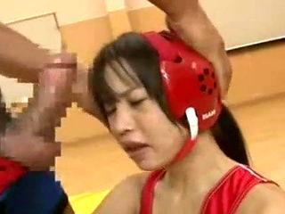 Girl gets taken advantage if in wrestling match