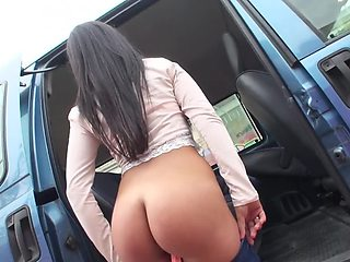 Stranger fucks appealing girl with small tits in his minivan