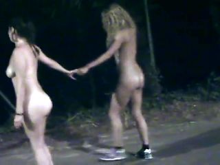 Two friends strip at night for a dare