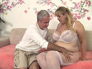 Sexy and beautiful blonde plumper crushes her boyfriend's