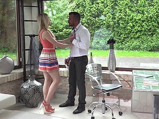 Small tits blondie Alecia Fox monas while riding a large cock