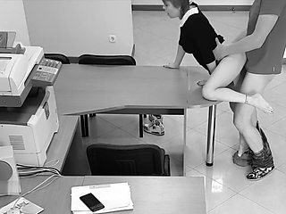 Boss fucked his married secretary on the table and filmed it on a spycam