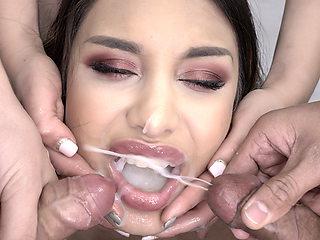 Premium Bukkake - Roxy Lips swallows 105 mouthful cum loads