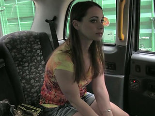 Lovely euro amateur exposes her tits for a free ride in taxi and gets laid