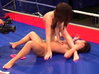 Wrestling lesbos pussylicking in sixtynine