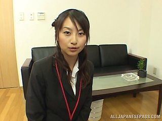 Naughty Asian office girl gets fucked after giving a blowjob at work