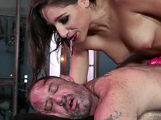 Dude becomes the slave Abella wants and that woman loves pegging him hard