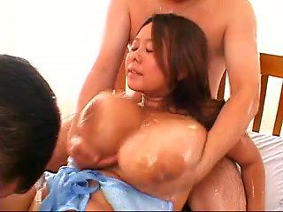 Breasty japanese Fuko has truly massive milk sacks