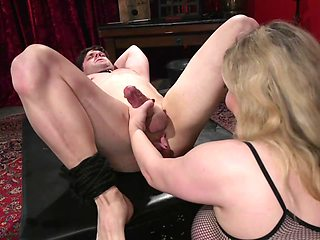 The white boy is totally into BDSM and being punished by his mistress