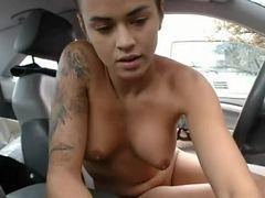 French Shaved Hair Brunette Girl Naked On Public Parking - Nue en publique