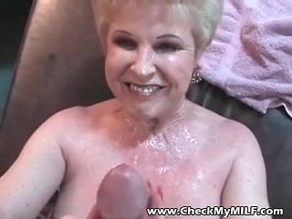 Check My MILF granny slurping on jizz