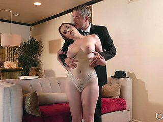 River Fox gets her unshaved pussy filled with a stranger's penis