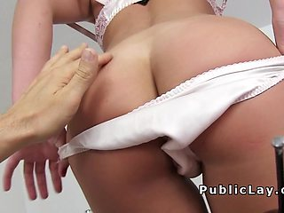 French amateur babe flashing for cash