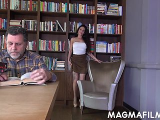 Old fart becomes an object of hot slut's desires and that whore loves sex