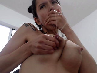 Beautiful milk machine nipples on Latina