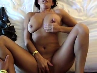 Buxom milf rubs her clit while a POV cock drills her pussy