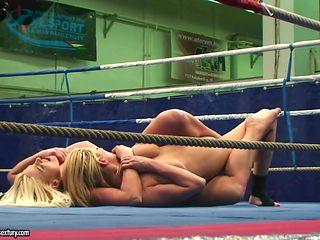Fully nude female wrestling with Simony Diamond and Karina Shay