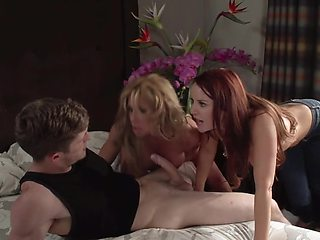 Red-haired MILF shares stepson's dick with her best friend