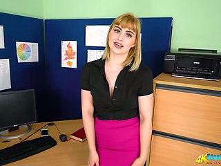 Naughty office chick Elle gets naked and shows her ass and small tits