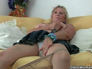 Grandma with big tits masturbates and gets finger fucked