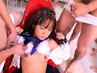 Petite japanese teen in sailor uniform and kimono cosplay