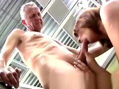 Beautiful Redhead Teen Goes Naughty Sucking Old Boss Dick