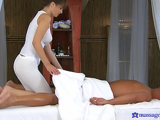 Fucking on the massage bed with handsome pornstar Rita Peach