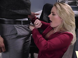 Office sex with hot blonde Lisey Sweet and her shy male assistant