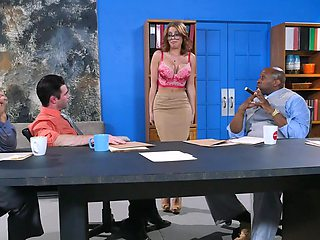 Impressive interracial gangbang session with a raunchy blondie