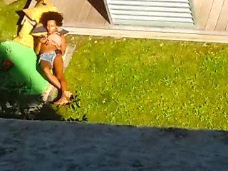 HOT GIRL NEXT BLOCK IN TINY SHORT SHORT TEASING AROUND