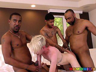 Black guys sharing a white boi's ass