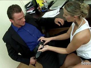 German sexy MILF secretary fucks her boss at work