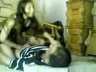 Arab girl fucks and old man cowgirl, doggystyle and missionary quickie on a matress on the floor.