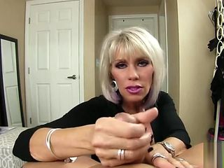 beautiful mature smoking Mommy gives POV handjob